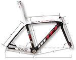Ditec 912 Carbon Frameset met doorgetrokken Zadelpen  53 cm.